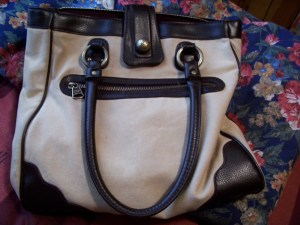 This is Donny, my purse. I bought this at Repeat Boutique for about $12 I think, and I thought that it was a bit expensive for a purse that I didn't really need, but I ended up getting rid of all my other ones because I like this bag the best. It is made by GAP and it's just really handy for everything. Although since it is so big and roomy it's tempting to carry too much in it.