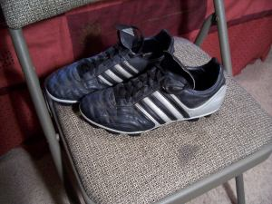 These are soccer cleats that I bought maybe like 3 years ago from the Goodwill store in North Platte. I got them for $2.50, and they were in such great condition when I bought them. They are Adidas cleats and they have really been great to have.