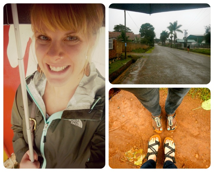 This was on Sunday- a very WET day as Jane and I ventured to church....we got super muddy!
